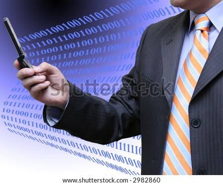 Businessman checking the binary code - stock photo