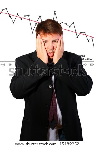 Businessman chocked by the development (conceptual) - stock photo