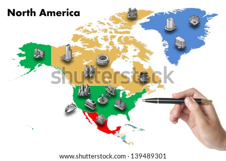 businessman choose invest on north america map, isolated - stock photo