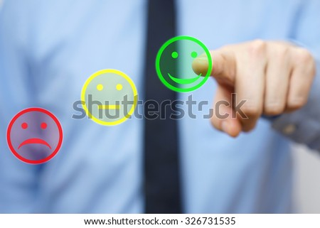 businessman choose  positive icon, concept of  satisfied customer - stock photo