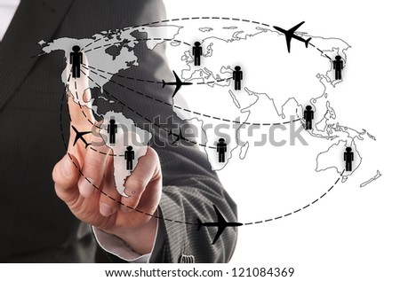 businessman chooses for his airline to fly  to his contact - stock photo