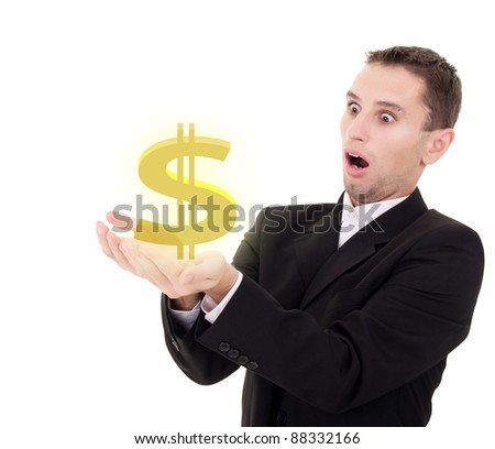 businessman chooses golden US dollar sign on a white background