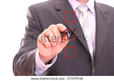 Businessman choosing one of three options - stock photo