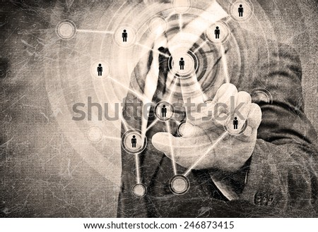 Businessman Choosing the right person in the old paper - stock photo