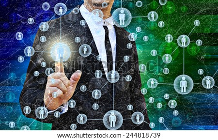 Businessman Choosing the right person in the old texture - stock photo