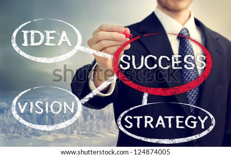 Businessman circling a success bubble connected to vision, strategy and idea, above the city - stock photo