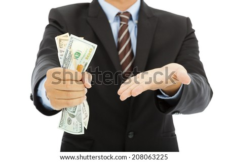 businessman clench us dollars and gesture