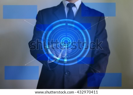 Businessman clicking on a target