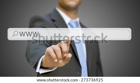 Businessman cliking on tactile interface web address bar