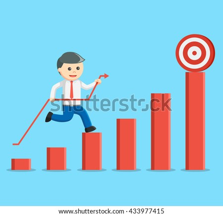businessman climbing a bar graph with the arrow to hit the target