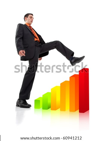 Businessman climbing a chart, isolated on white