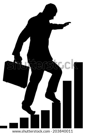 businessman climbing a successful bar chart isolated on white - stock photo