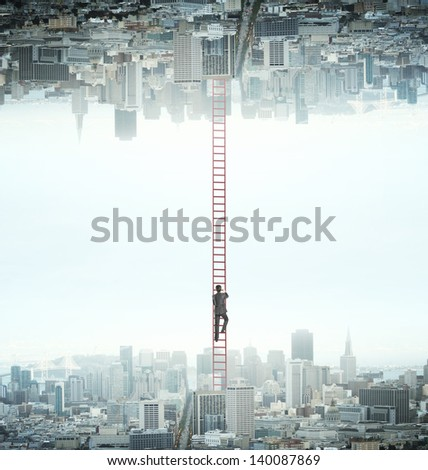 businessman climbing from city to another - stock photo