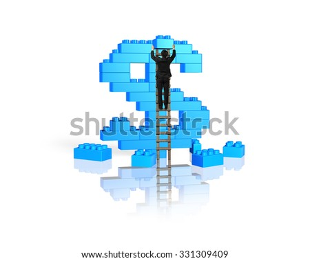 Businessman climbing ladder and holding a blue block to complete dollar sign shape of stack blocks, isolated on white background. - stock photo