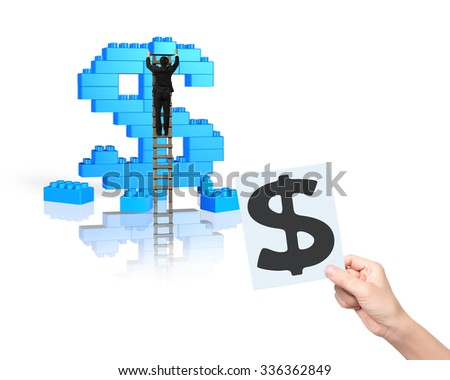 Businessman climbing ladder building stack blocks in dollar sign shape, with one hand holding blueprint, isolated on white background. - stock photo