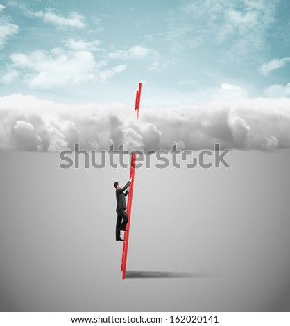 businessman climbing on ladder to clouds