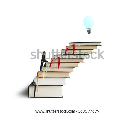 Businessman climbing on stack of books with growing bulb in white background