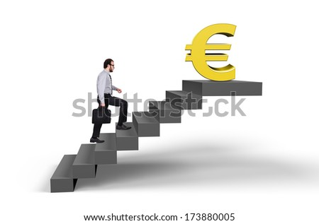 businessman climbing stairs to the euro symbol - stock photo