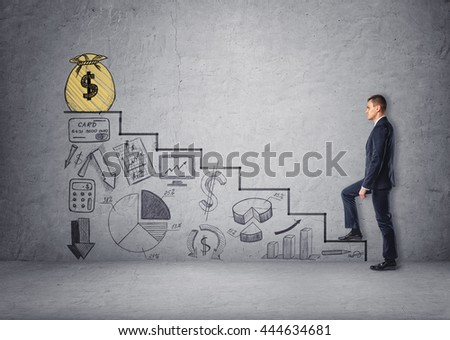Businessman climbing stairs with economic charts and a bag of money on top of stairs. Believe in yourself. Increase in profits. Making money. Success and development. Setting and achieving goals. - stock photo