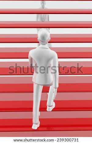 Businessman climbing steps of a stairway - stock photo