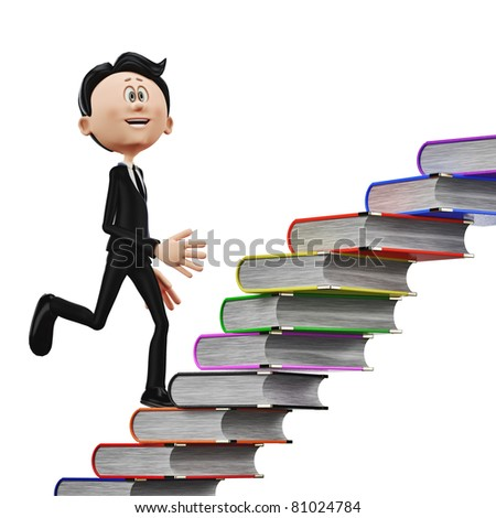 businessman climbing the books side view - stock photo