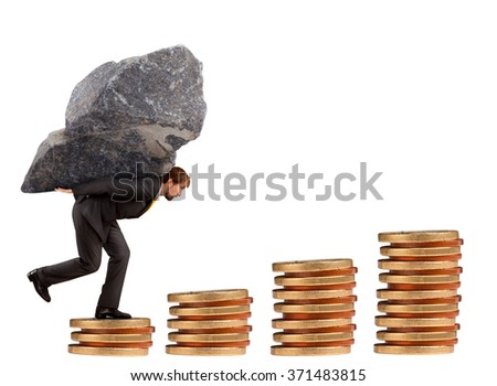 Businessman climbing the stairs of money with the rock on his shoulders - stock photo