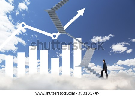 Businessman climbing upstairs, blue sky and bar charts at background. Concept of career growth. - stock photo