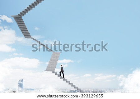 Businessman climbing upstairs, blue sky and city at background. Concept of career growth. - stock photo