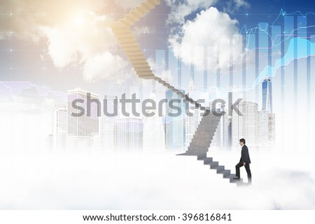 Businessman climbing upstairs, blue sky, New York and bar charts at background. Concept of career growth. - stock photo