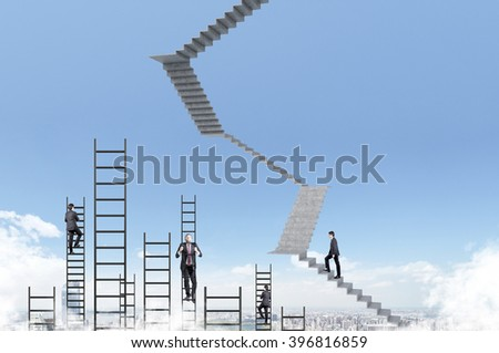 Businessman climbing upstairs, ladders and other businessmen, blue sky at background, city view. Concept of career growth. - stock photo