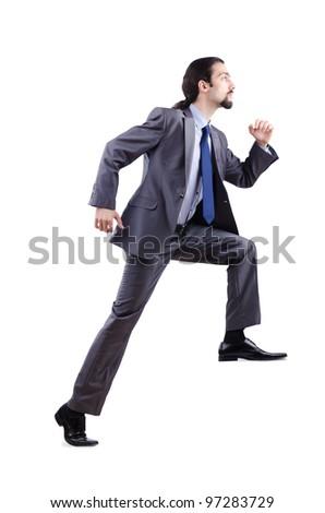 Businessman climbing Virtual ladder - stock photo