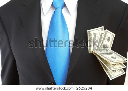 businessman close up with US dollars