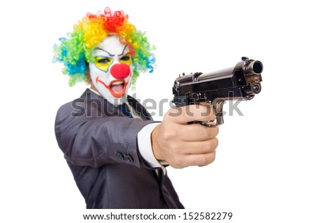 Businessman clown with gun isolated on white - stock photo