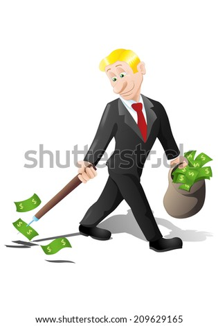 businessman collecting money of dollar rain shower on isolated over white background - stock photo