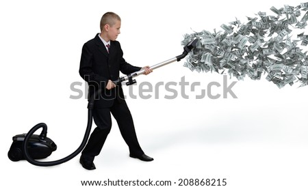 businessman collects money Vacuum - stock photo