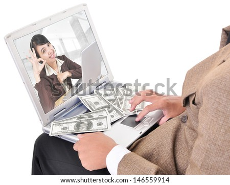 Businessman communicating via the Internet, isolated on white background