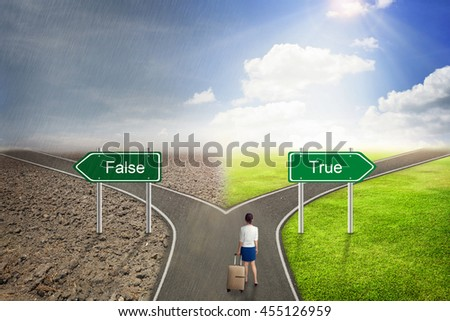 Businessman concept,  False or True road to the correct way. - stock photo