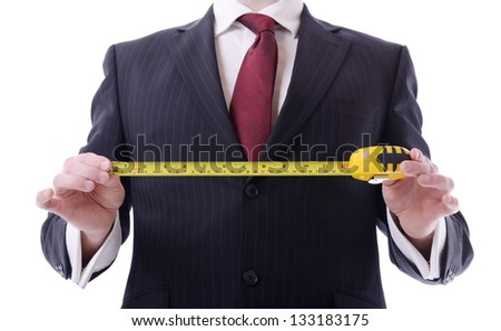 businessman concept of measuring success isolated on white - stock photo