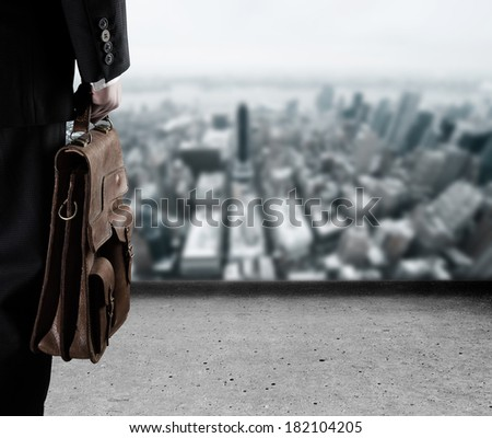 Businessman concerned about the uncertain future - stock photo