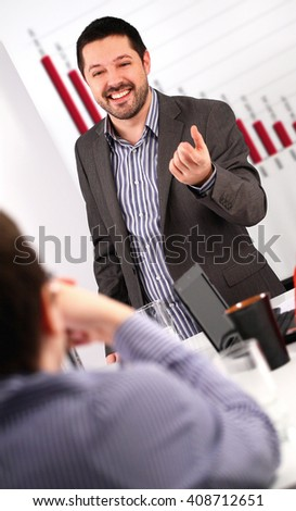 Businessman conducting a business training