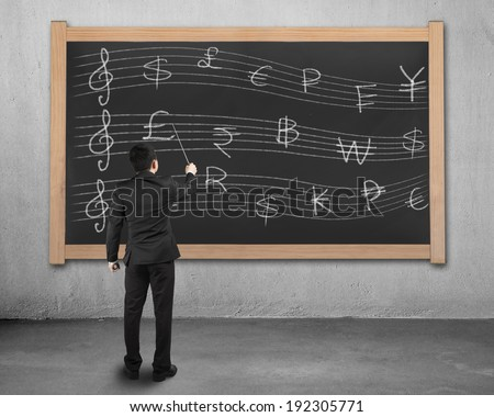 Businessman conducting and facing stave with money symbols on blackboard