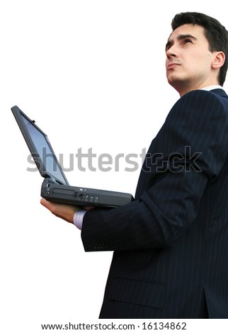 Businessman connect to internet with a computer - stock photo