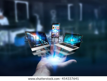 Businessman connected tech devices and icons applications with each other '3D rendering' - stock photo