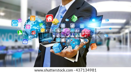 Businessman connecting tech devices and cyberspace applications '3D rendering'