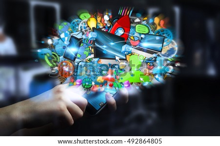 Businessman connecting tech devices and icons applications with his mobile phone 3D rendering