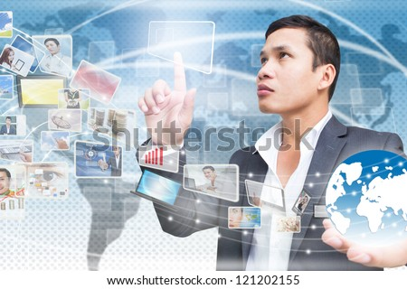 Businessman Connecting to Media Technology - stock photo