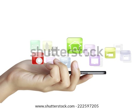 Businessman connection touch screen mobile phone - stock photo