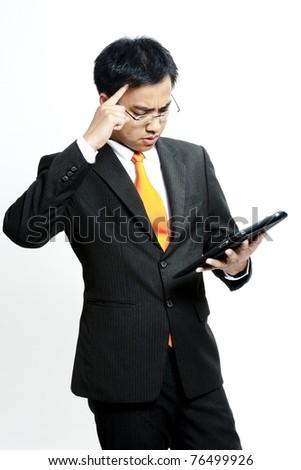 Businessman contemplating options - stock photo