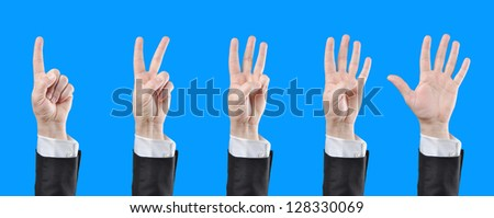 businessman counting hands - stock photo