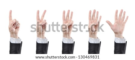 businessman counting hands on white background - stock photo